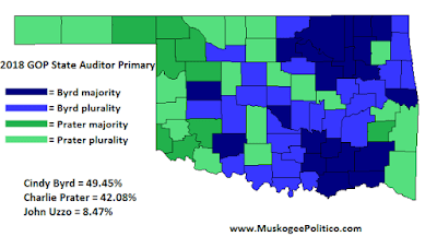 MuskogeePolitico/Election Results Map: GOP State Auditor Primary