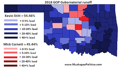 MuskogeePolitico:  Election Results Maps: GOP Gubernatorial runoff