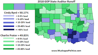 MuskogeePolitico:  Election Results Maps: State Auditor runoff
