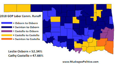 MuskogeePolitico:  Election Results Maps: Labor Commissioner runoff