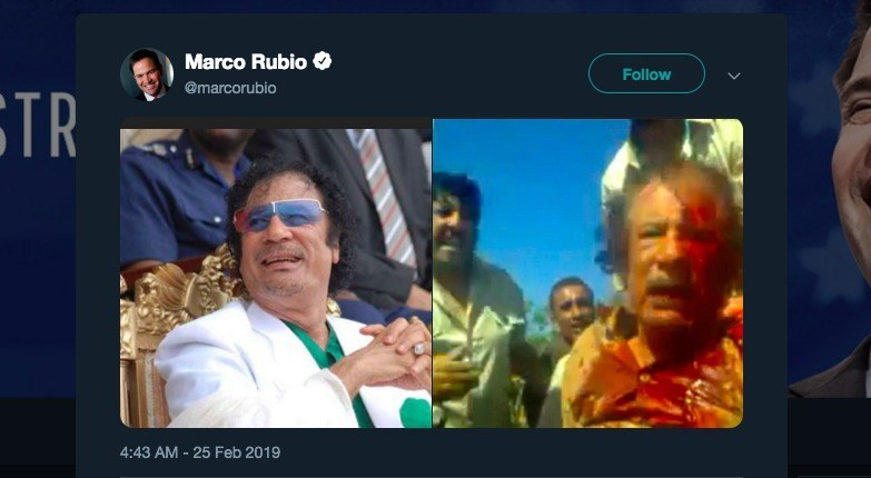 R3publicans:  Psychopathic US Senator Openly Calls For Maduro To Suffer Gaddafi's Fate