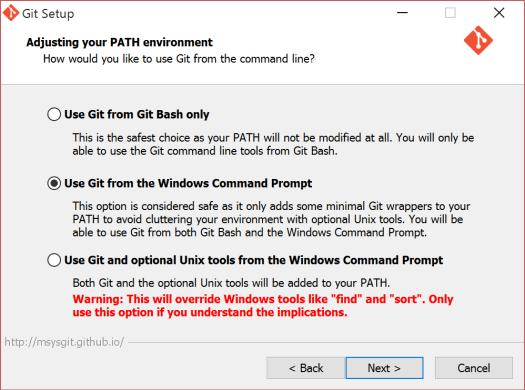 Git インストール時は「Use Git from the Windows Command Prompt」を選択し、コマンドプロンプトから使用できるように設定