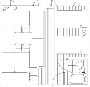 間取り図:和洋室A ( ツインベッド+6畳 )