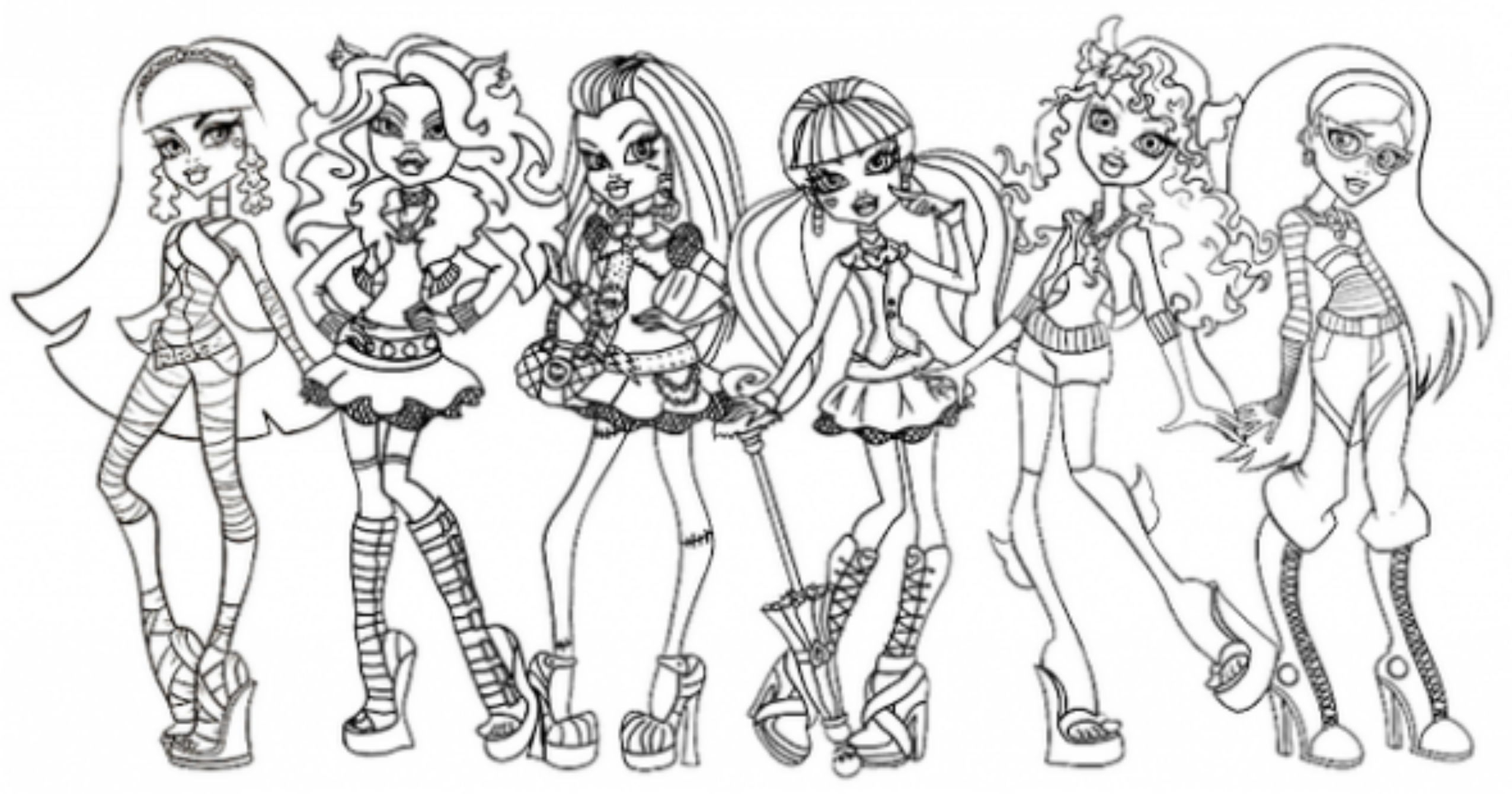 Free Coloring Pages Download Monster High Page All Characters Printable Of