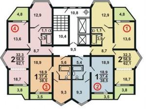 Планировка квартир дома серии П44К крайний подъезд
