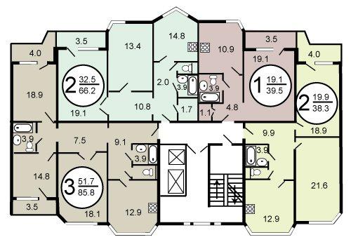 Планировка квартир дома серии П44ТМ вариант 2