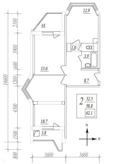План двухкомнатной распашной квартиры в доме серии П44К