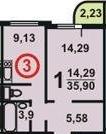 Планировка однокомнатной угловой квартиры в доме серии П3М