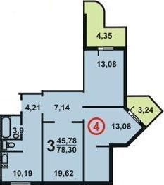 Планировка трехкомнатной угловой квартиры в доме серии П3М