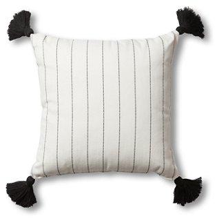 frances outdoor tassel pillow white multi