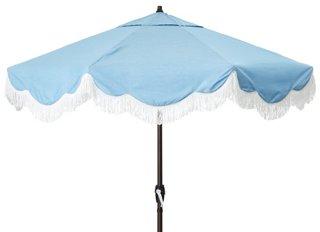 cloud fringe patio umbrella light blue sunbrella