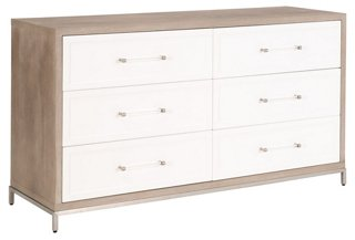 riley 6 drawer double dresser natural gray white