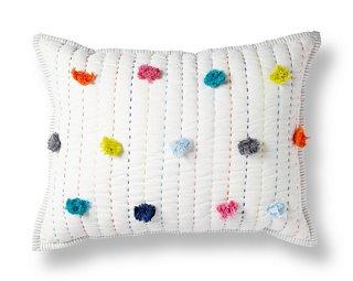 pom pom 12x16 pillow white multi