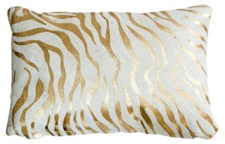 zebra striped lumbar pillow gold