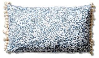 meri 12x20 tassel lumbar pillow blue