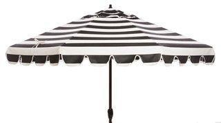 phoebe scallop edge patio umbrella black white