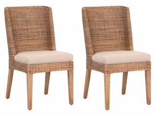 S/2 Tilly Side Chairs, Natural/Light Gray Linen