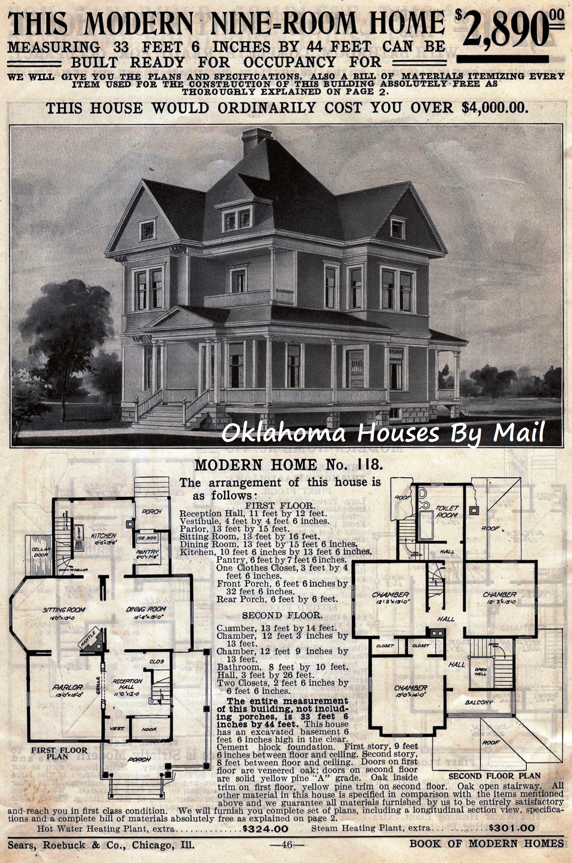 The Sears  118  A VERY Popular Early Sears Modern Home   Oklahoma     The Sears  118 from my 1908 4th edition Sears Modern Homes