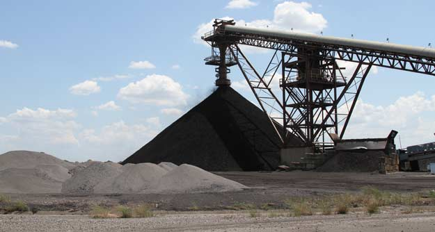 A huge conveyor moves pulverized coal into the AES Shady Point power plant near Spiro.