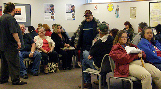 Patients fill the clinic waiting room.