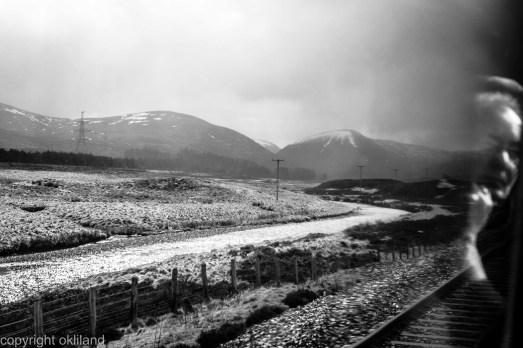 Bilde, Svart hvitt Tog Inverness Edingburgh Skottland Ørjan Liland