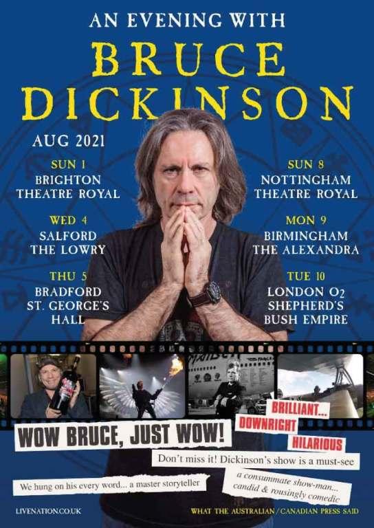 """Bruce Dickinson fará turnê de """"palavra falada"""" no Reino Unido"""