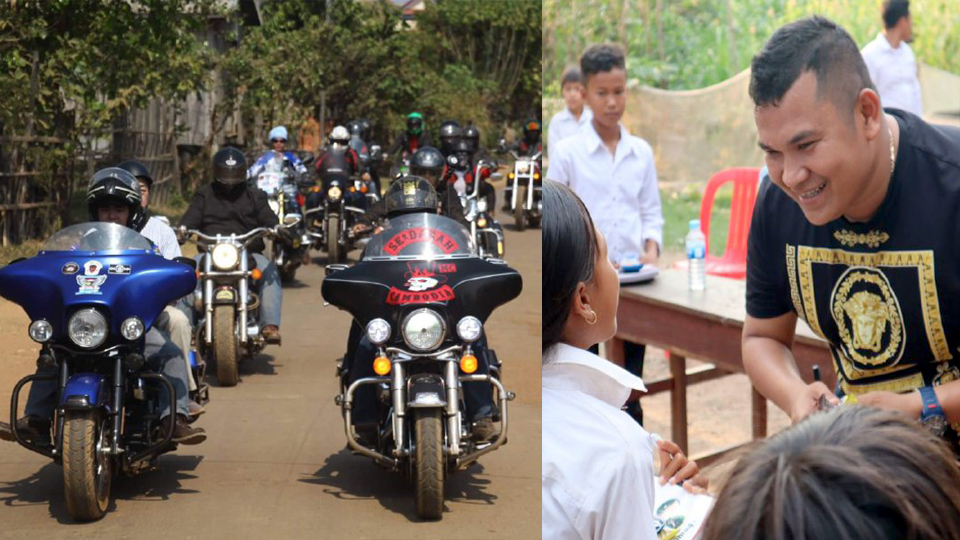 ក្រុមម៉ូតូធំ SEDARAH Mc cambodia នឹង ឧកញ៉ា ភិរម្យ វិចិត្រដារ៉ា នាំគ្នាជិះម៉ូតូទាំងពីភ្នំពេញយកសៀវភៅទៅចែកជូនសិស្សនៅ សាលាដាច់ស្រយាល១ក្នុងខេត្ត កំពង់ធំ
