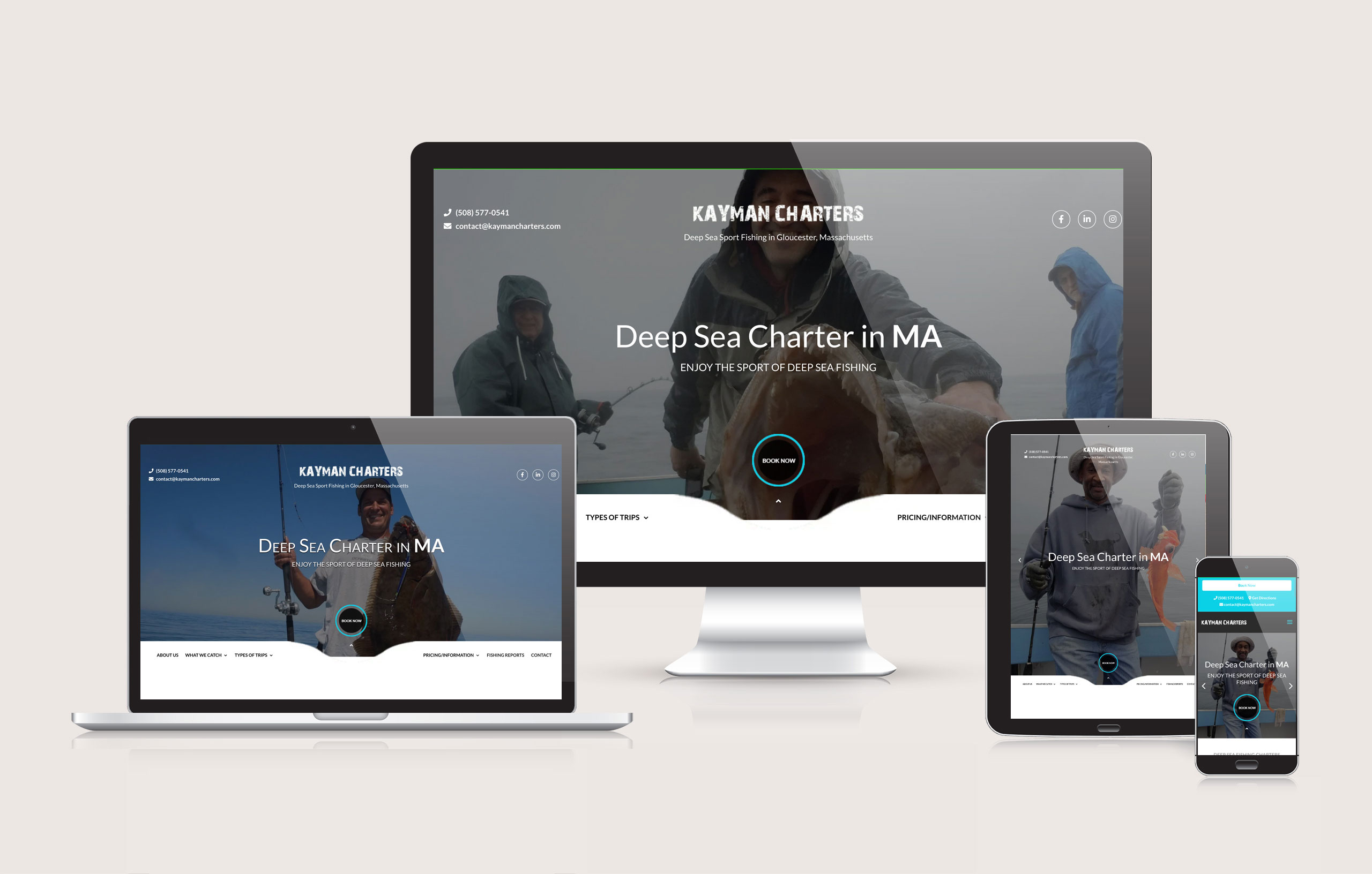 Kayman Charters - Website Layout