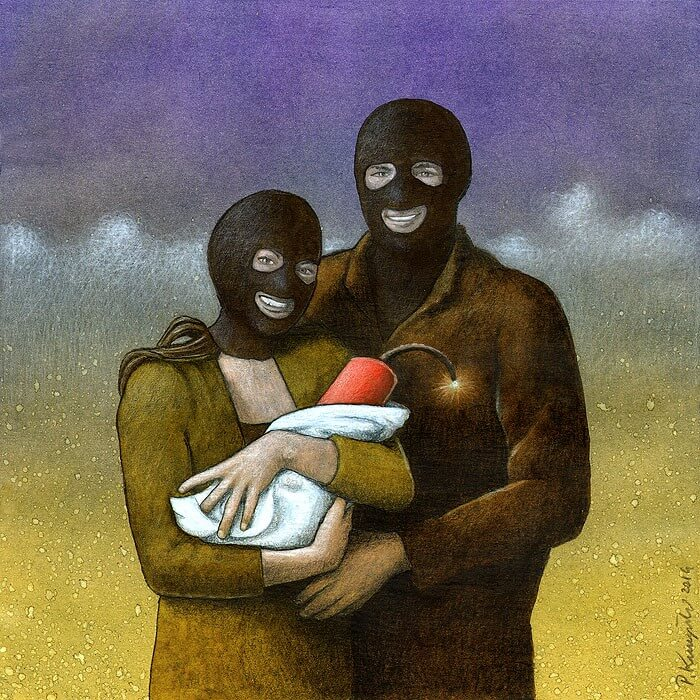 Rysunek satyryczny - Świat - Paweł Kuczyński