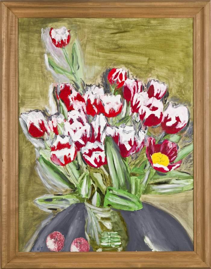 Wojciech Tut Chechliński-Tulipany-w-wazonie-olej-na-płótnie-785-x-585-cm-2012-r-sygnowany-kat
