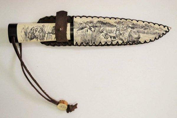 Нож Рысь из кованой 9ХС с рукоятью из рога лося в ножнах ...