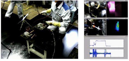 ろう付け作業(写真左)と画像解析技術を用いたろう付けプロセスのセンシング例(写真右)