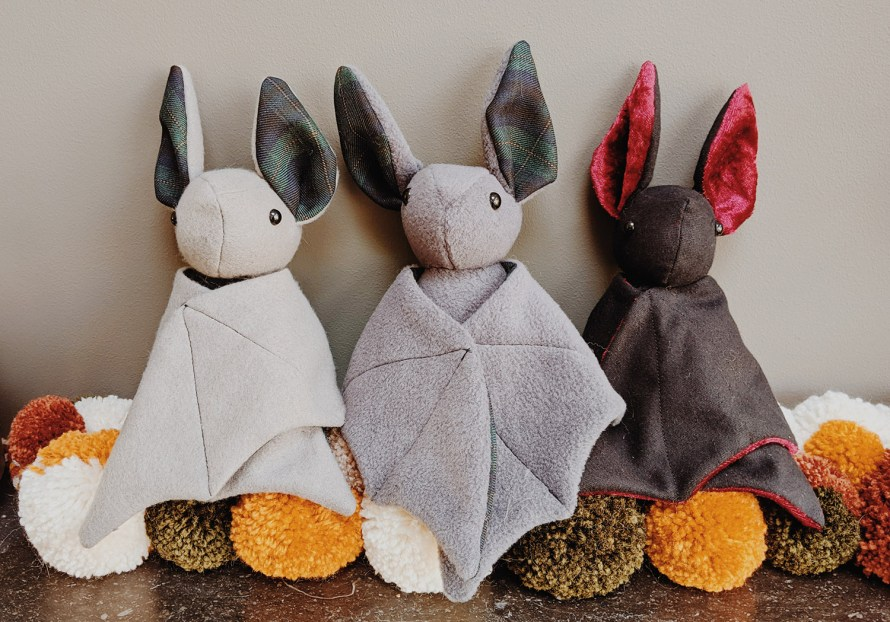 Handmade bat plushies trio