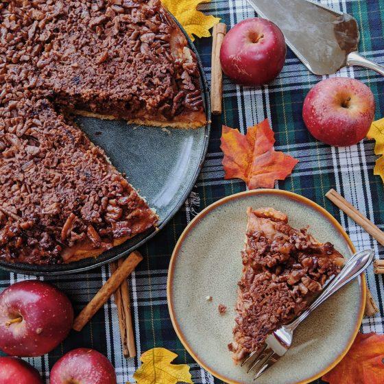 Oktoberdots ondersteboven appel en pecan taart recept