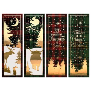 oktoberdots tartan christmas bookmarks
