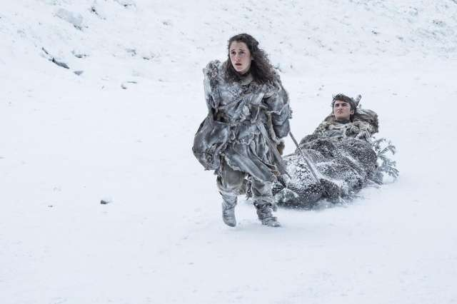 Ellie Kendrick as Meera Reed and Isaac Hempstead Wright as Bran Stark.