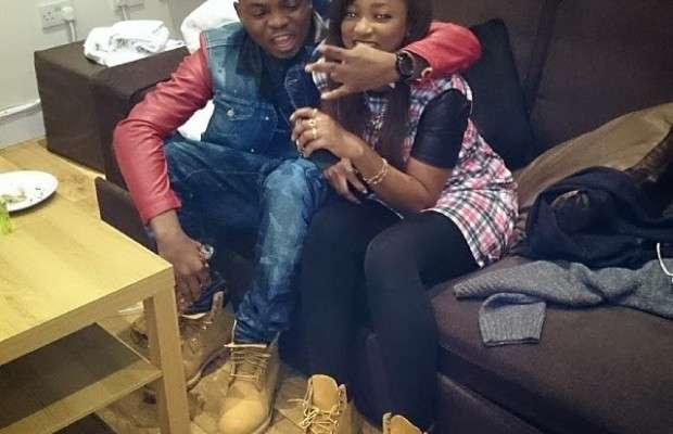 Olamide with newly engaged girlfriend, Adebukunmi