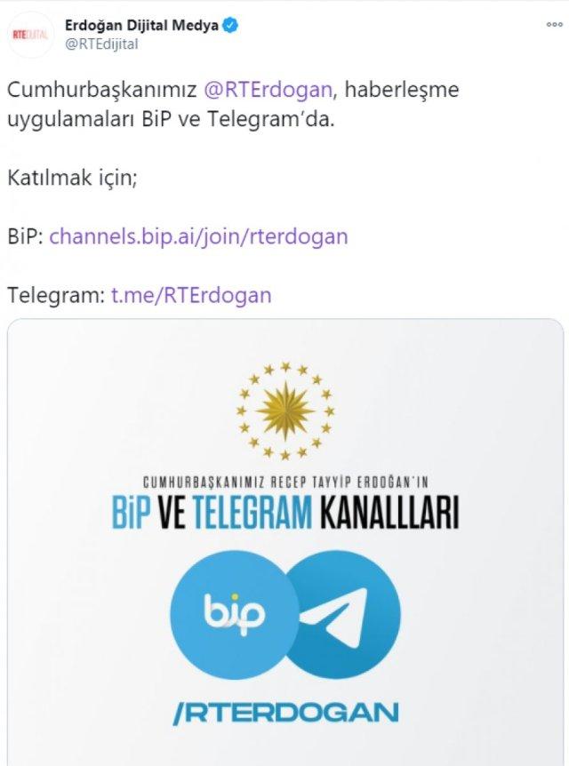 cumhurbaskani erdogan bip ve telegramda 1 42e2pxa9 - Cumhurbaşkanı Erdoğan BiP ve Telegram'da