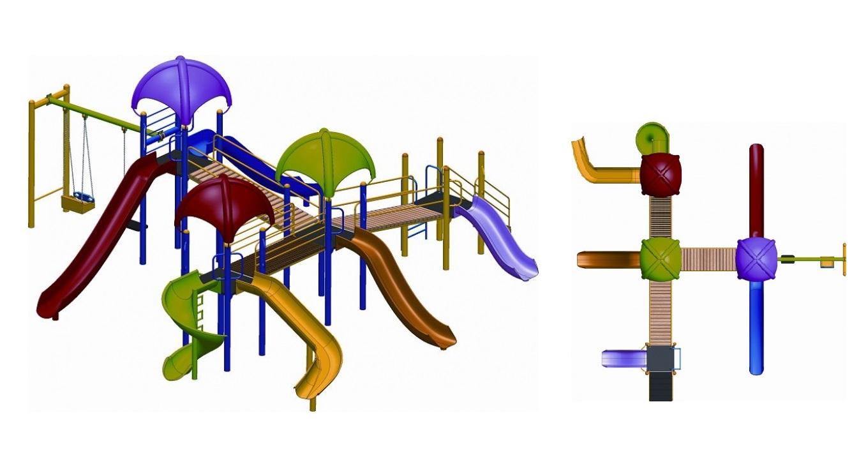 OPC-07 dört kuleli altı kaydıraklı üç köprü geçişli iki salıncaklı oyun grubu
