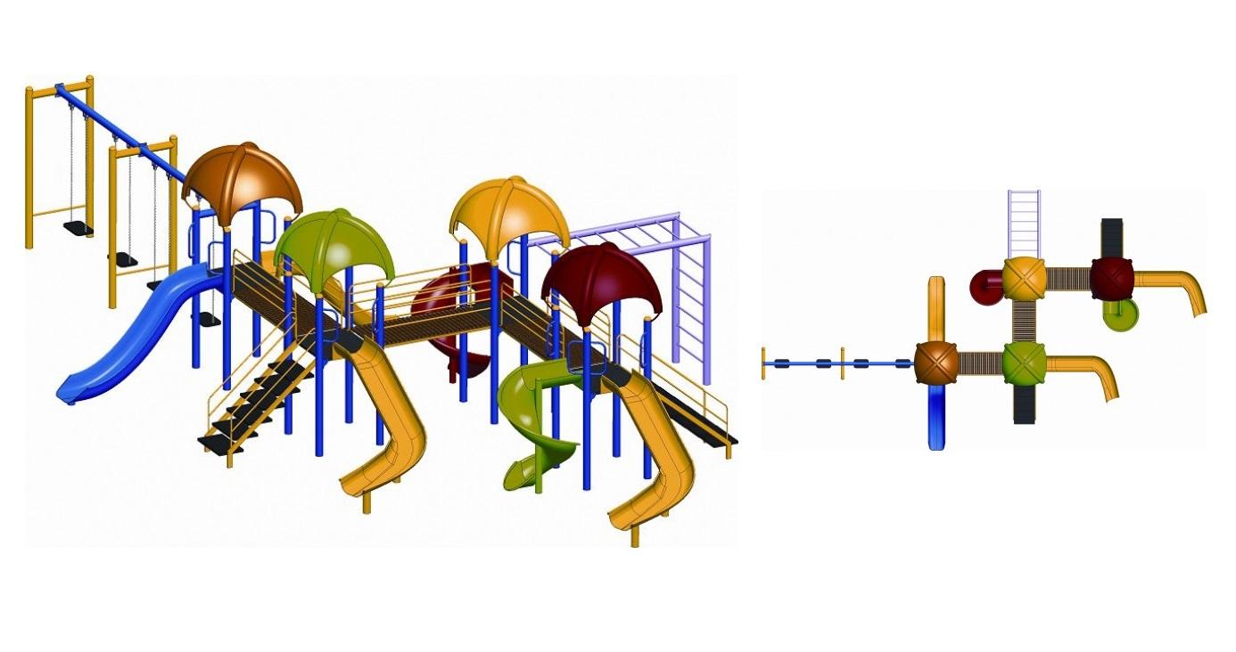 OPC-08 dört kuleli altı kaydıraklı bir tarzan merdivenli üç köprü geçişli dört salıncaklı oyun grubu