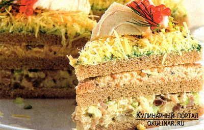Бутербродный торт с лососем Рецепт с фотографией