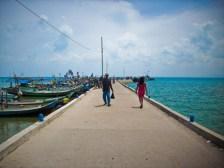 Dermaga di pulau Seliu, Belitung.