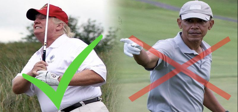Golf + Trump = Good. Golf + Obama = Bad