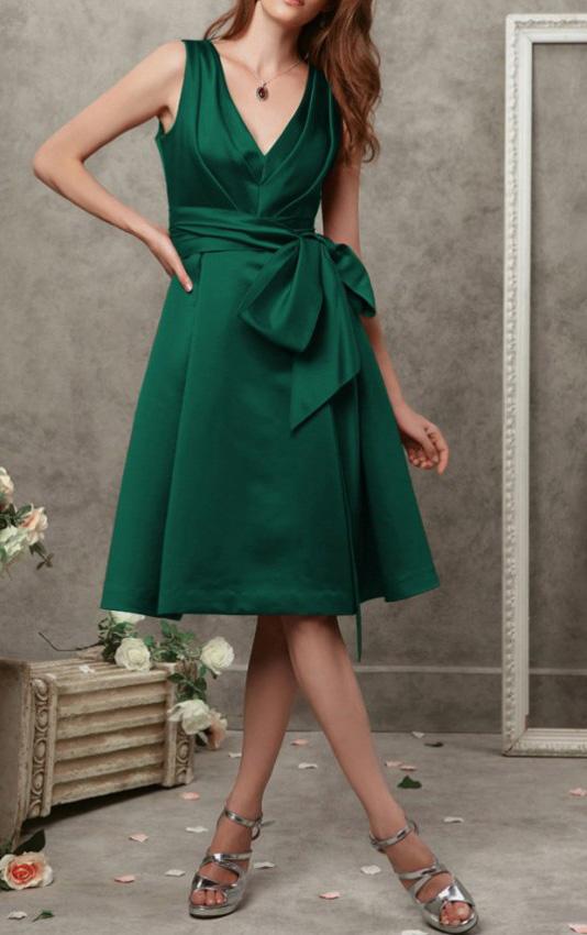 A-line-V-neck-Natural-Satin-Wedding-Guest-Dresses-16167