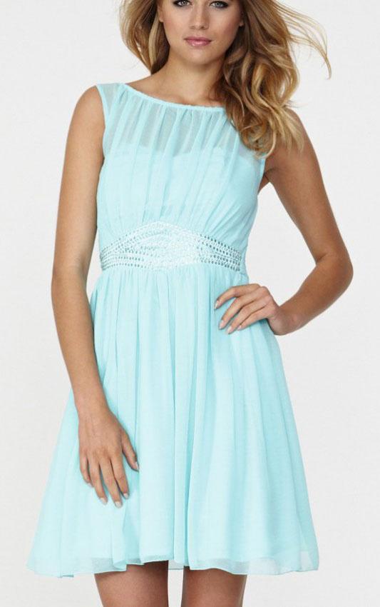 Jewel-Knee-length-Blue-A-line-Chiffon-Dresses-16206