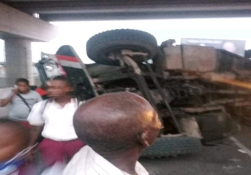 JUST IN: Truck Reportedly Turns Over Under Newly Commissioned Flyover in Port Harcourt