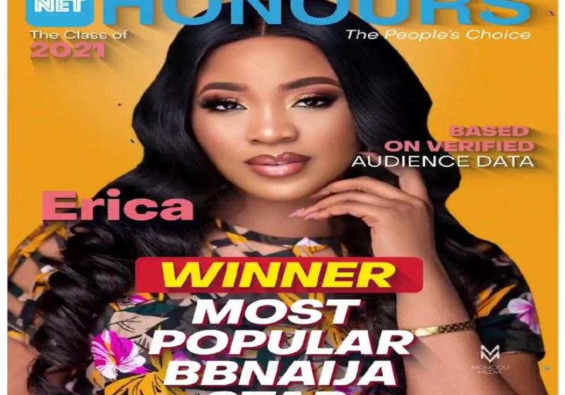 "BBNaija Erica Bags the NET ""Most Popular BBNaija Star"" Award"