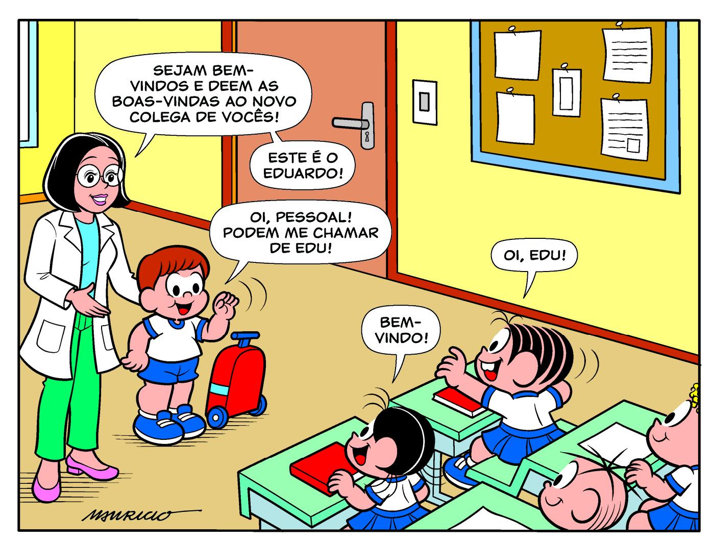 Em parceria com Sarepta, a Mauricio de Sousa Produções apresenta o Edu, um garoto com Distrofia Muscular de Duchenne que encontra a Turma da Mônica em seu primeiro dia de aula