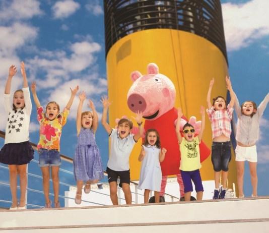 As crianças a bordo do Costa Diadema têm a oportunidade de brincar e interagir com a famosa personagem de desenho animado Peppa Pig
