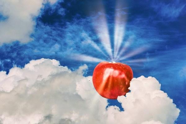 Knallroter Apfel an Wolkensahnehaube